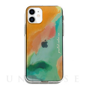 【iPhone12 mini ケース】ソフトクリアケース (Pastel color OrangeGreen)