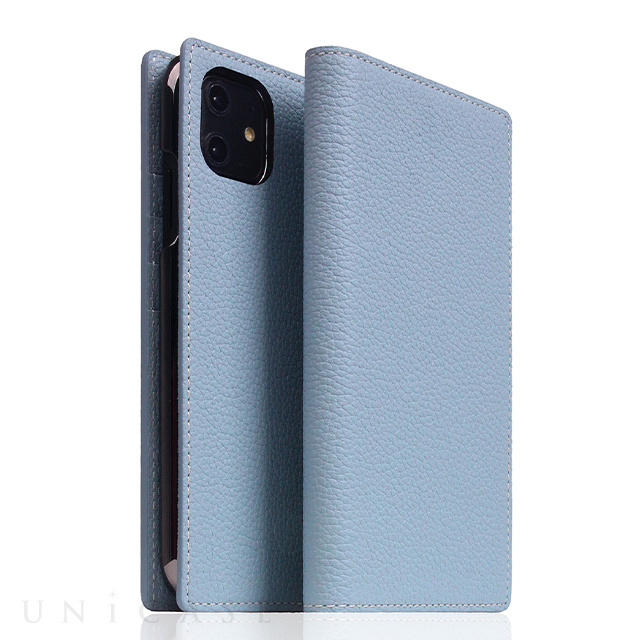 【iPhone12 mini ケース】Full Grain Leather Case (Powder Blue)