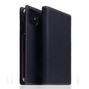 【iPhone12/12 Pro ケース】Full Grain Leather Case (Black Blue)