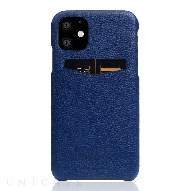 【iPhone12 mini ケース】Full Grain Leather Back Case (Navy Blue)
