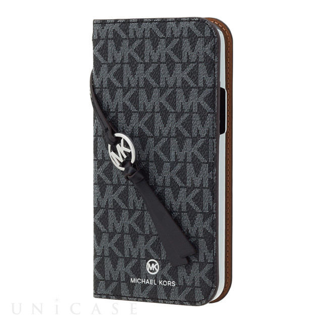 【iPhone12/12 Pro ケース】FOLIO CASE SIGNATURE with TASSEL CHARM (Black White)