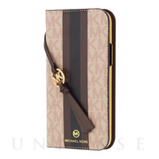 【iPhone12/12 Pro ケース】FOLIO CASE STRIPE with TASSEL CHARM (Ballet)