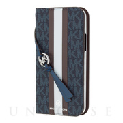 【iPhone12/12 Pro ケース】FOLIO CASE STRIPE with TASSEL CHARM (Admiral/Dark Brown)