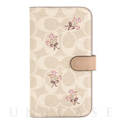 【iPhone12/12 Pro ケース】Folio Case (Floral Bow Signature C Sand/Multi Printed/Glitter Accents)