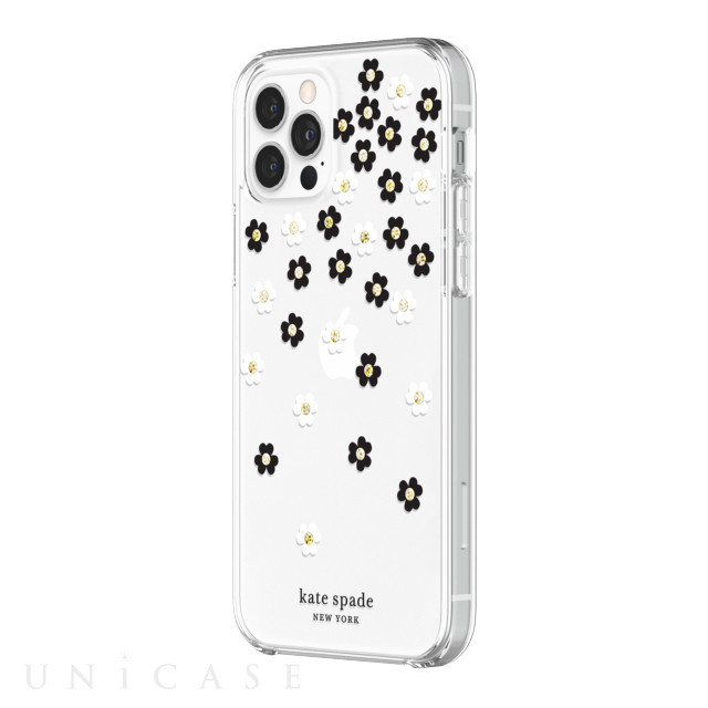 【iPhone12/12 Pro ケース】Protective Hardshell Case (Scattered Flowers Black/White/Gold Gems/Clear/White Bumper)