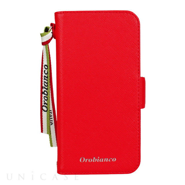 "【iPhone12 mini ケース】""サフィアーノ調"" PU Leather Book Type Case (レッド)"