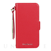 "【iPhone12 mini ケース】""シュリンク"" PU Leather Book Type Case (レッド)"