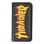 【iPhoneSE(第2世代)/8/7 ケース】FLAME MAGZINE Logo PU Leather Book Type Case (BLK/FLAME)