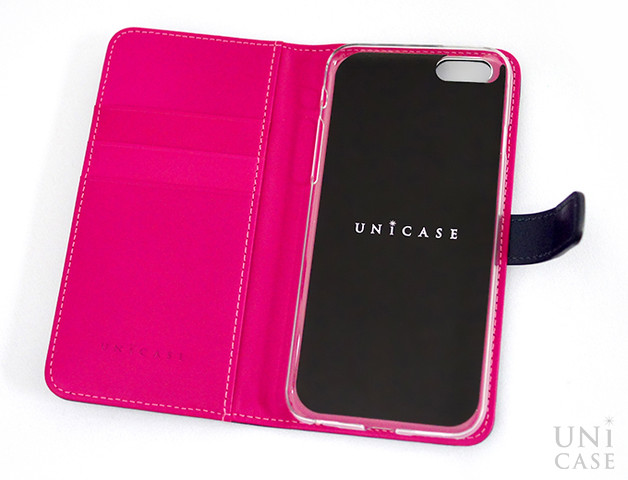 【iPhone6s/6 ケース】COWSKIN Diary Navy×Pink for iPhone6s/6の見開き