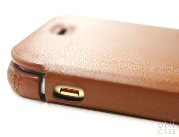 【iPhone6s/6 ケース】TRANS CONTINENTS LEATHER CASE for iPhone6s/6 (Brown)の側面スイッチ部分