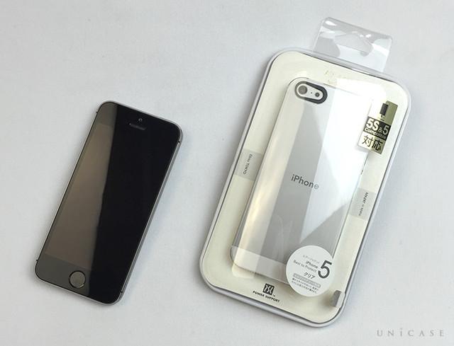 1de3a4a1cf 【iPhoneSE/5s/5 ケース】エアージャケットセット (クリア) 人気のパワーサポート社製クリアケースを装着してみました。