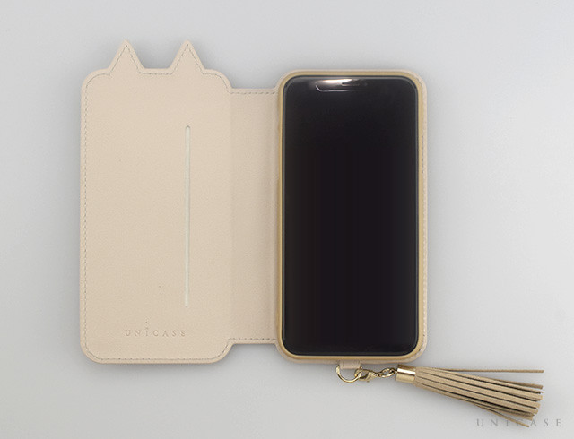 【iPhoneXS/X ケース】Tassel Tail Cat for iPhoneXS/X (Beige)手帳型レビュー 見開き