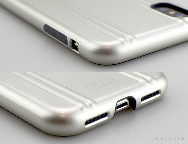 【iPhoneXS ケース】ZERO HALLIBURTON Hybrid Shockproof case for iPhoneXS (Silver)装着レビュー スピーカー、側面