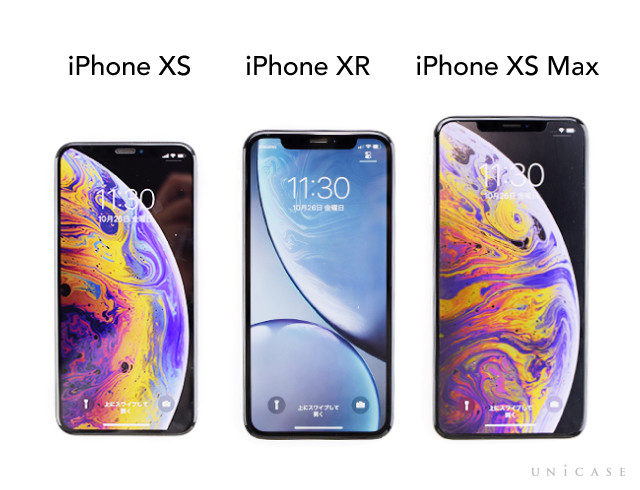 iPhone XRとiPhone XS,iPhone XS Max 本体ディスプレイ