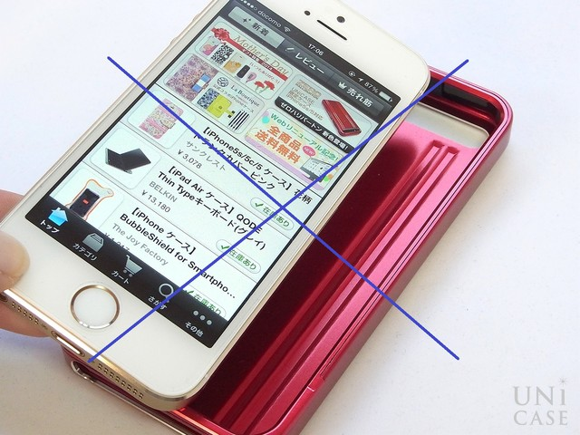 【iPhone5s/5 ケース】ZERO HALLIBURTON for iPhone5s/5 (Red)の装着