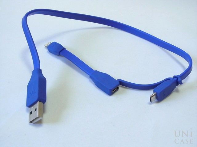 DUO SYNCABLE - MICRO/LIGHTNING - USB/0.3M BLUEの外観