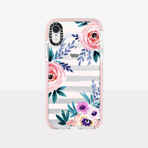 【iPhoneXR ケース】Impact Case (Floral Pink Stripe)/Pink Bumper