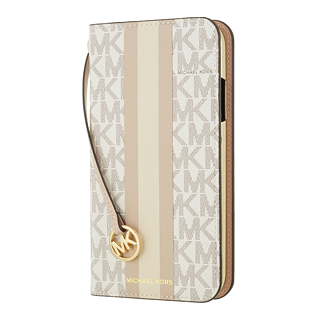 【iPhoneSE(第2世代)/8/7 ケース】Folio Case Beige Pink Stripe with Charm