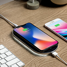 ENETREE Quick Wireless Recharger イタリア製本革使用の充電パッド