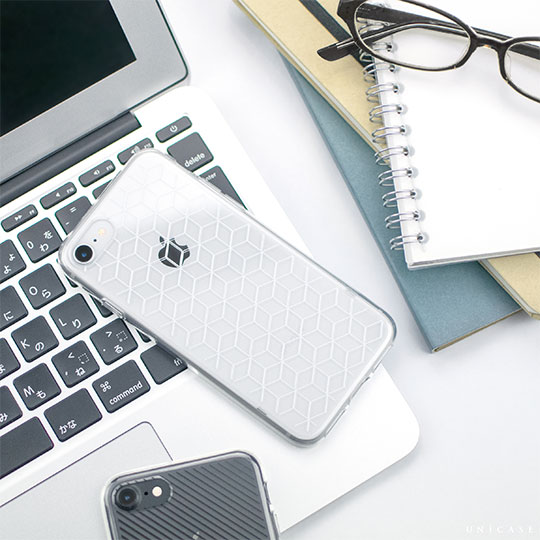 【iPhone8/7 ケース】MONOCHROME CASE for iPhone8/7 (Hexagon Line White)
